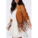 Cropped Tassel Plain Long Sleeve Jacket