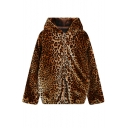 Hooded Long Sleeve Leopard Print Zipper Coat