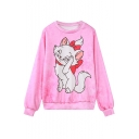 Cartoon Print Long Sleeve Pink Sweatshirt