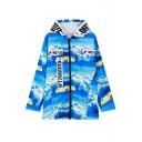 Print Hooded Long Sleeve Zipper Long Coat