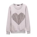 Heart Print Long Sleeve Round Neck Plain Sweatshirt