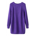 Plain Long Sleeve Round Neck Long Sweater