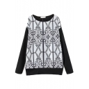 Round Neck Long Sleeve Tribal Print Long Sweater