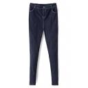 Midi Waist Zipper Fly Skinny Plain Jeans