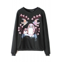 Embroidery Long Sleeve Black Round Neck Sweatshirt