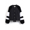 Raglan Color Block Single Breasted Bomber Jacket