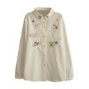 Cute Cartoon Embroidery Button Down White Shirt