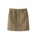 Vertical Stripes Zip Back Bodycon Mini Dress