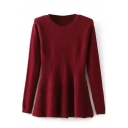 Plain Long Sleeve Hollow Out Puplum Sweater