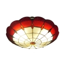USD7038 Round Shape Red Stained Glass Tiffany 2 Light Flush Mount Ceiling