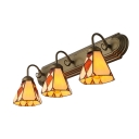Beige Cone Shade Stained Glass Tiffany 3-light Bathroom Lighting