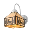 Vintage Lodge Style Stained Glass Tiffany One-light Wall Sconce