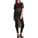 Black Round Neck Short Sleeve Sheer Midi Dress