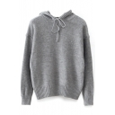 Gray Long Sleeve Hooded Drawstring Sweater