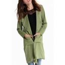 Waterfall Neck Long Sleeve Green Long Coat