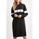 Hooded Long Sleeve Color Block Midi Dress