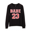 Letter Print Pullover Round Neck Long Sleeve Sweatshirt