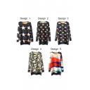 Round Neck Long Sleeve Print Midi Knit Dress