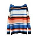 Boat Neck Colored Stripes Long Sleeve Fluffy Knit Sweater