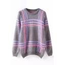 Colored Plaid Round Neck Long Sleeve Sweater
