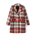 Plaid Double Breasted Notched Lapel Tweed Coat