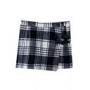Plaid Overlay PU Belt Button Mini Tube Skirt