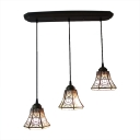 Lodge Style  3 Lights Bell Shade Adjustable Tiffany Pendant