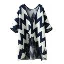 Half Sleeve Tassel Stripe Asymmetrical Cardigan
