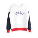 Color Block Letter Print Long Sleeve Sweatshirt