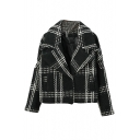 Notched Lapel Long Sleeve Plaid Short Coat
