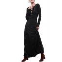 Cross Tie Front Long Sleeve Black Maxi Dress