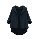 Lapel Half Sleeve Plain Open Front Tweed Coat