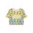 Round Neck Short Sleeve Cartoon Print Cropped Tee
