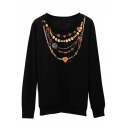 Necklace Print Long Sleeve Round Neck Sweatshirt