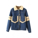 Lapel Single Breasted Long Sleeve Denim Coat