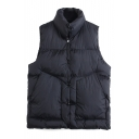 High Neck Single Breasted Sleeveless Padded Vest