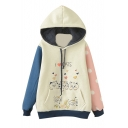 Hooded Long Sleeve Color Block Print Sweatshirt