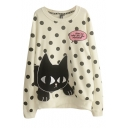 Round Neck Long Sleeve Polka Dot Embroidery Sweatshirt