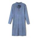 High Neck Plain Fur Ball Detail Knit Midi Dress