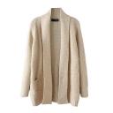 Single Pocket Long Sleeve Plain Cocoon Neck Long Cardigan