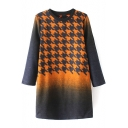 Houndstooth Print Ombre Twwed Shift Long Sleeve Dress