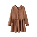 Plain Lapel Raglan Sleeve Bow Detail Elastic Wrist Dress