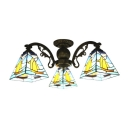 Nautical Style Blue Sailboat Pattern Stained Glass Tiffany Three/Eight-light Chandelier 2 Designs for Option