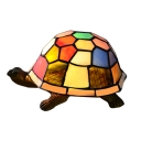 Colorful Tortoise Design 5.51 Inch Wide Mini Night Light for Kids in Tiffany Style
