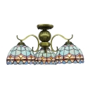 3 Lights Globe Shade Blue Lattice Brass Tone Finish Tiffany Style Chandelier