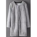 Gray Faux Fur Long Open Front Plain Collarless Coat