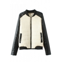 Stand Up Neck Long Raglan Sleeve Zipper Jacket