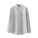 Stand Up Neck Button Down Long Sleeve Stripes Shirt