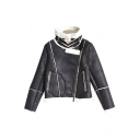 High Neck Long Sleeve Zipper Black PU Jacket