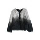 Open Front Long Sleeve Ombre Fur Coat